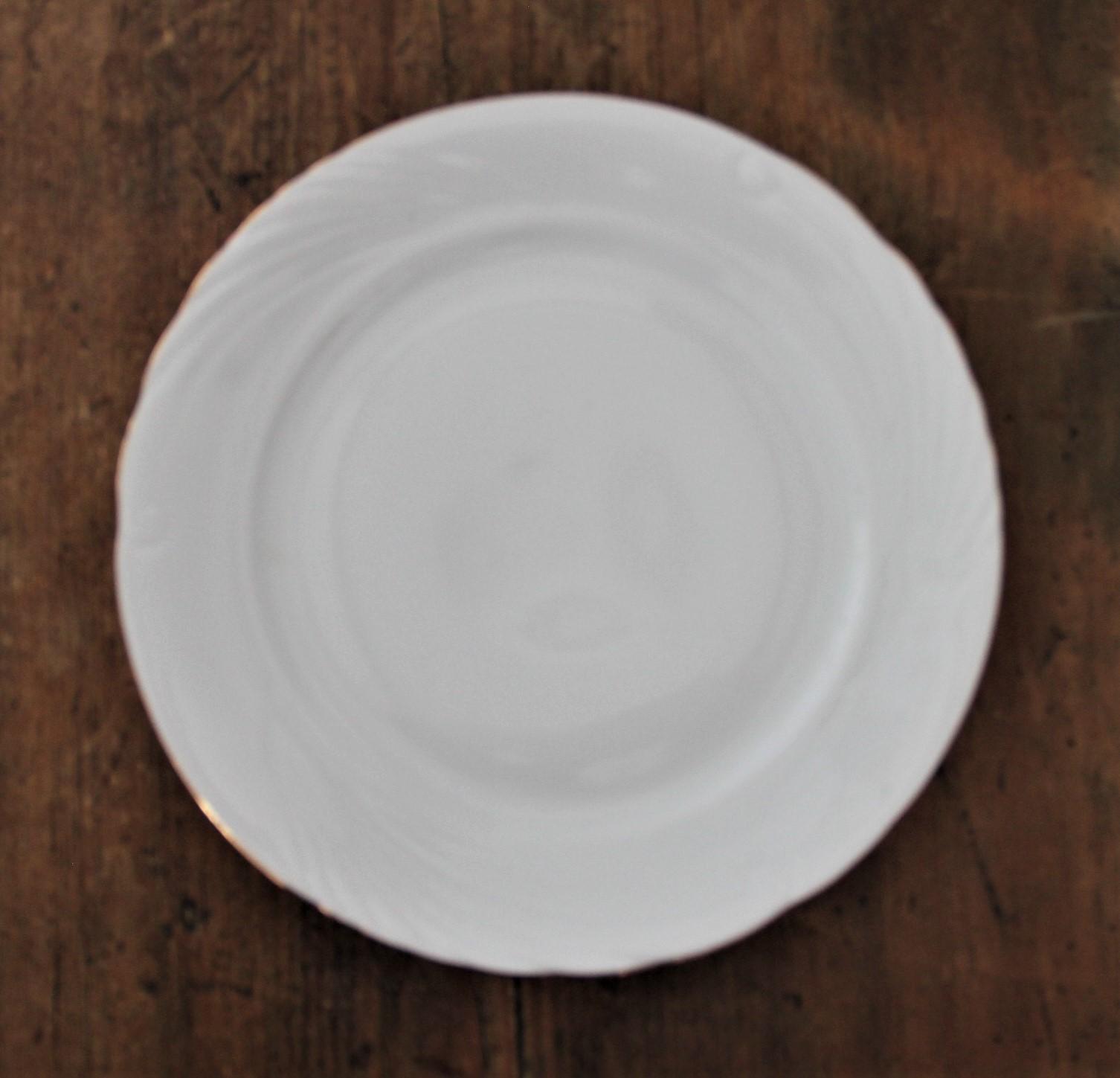 Assiette porcelaine blanche liseré or - D23cm