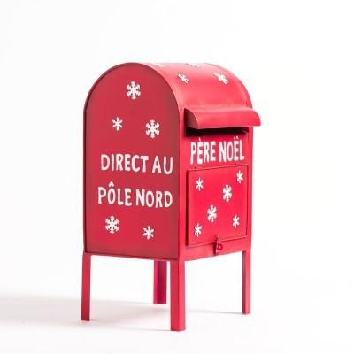 Boite aux lettres Père Noël en métal rouge L 27 X P 27 X H 52 CM
