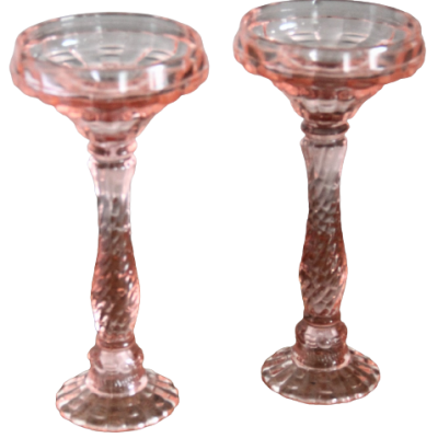 Bougeoir rose - en verre - H24 D11cm