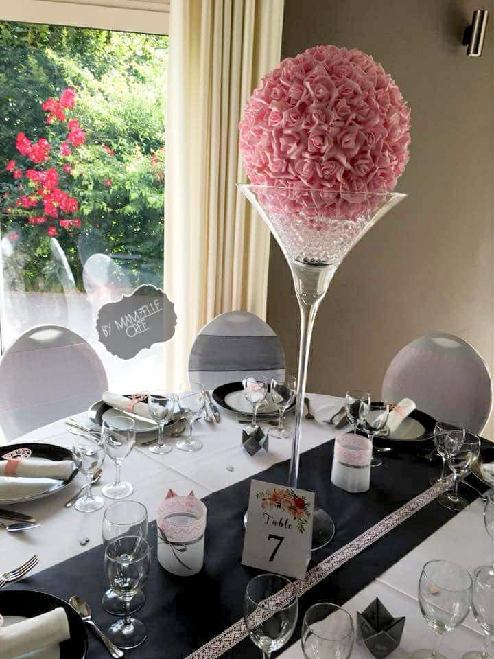 Boule de roses artificielles rose - NSE Location  5.00€