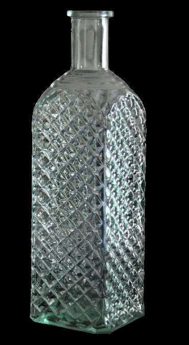 Bouteille ciselée reflet vert - H25x8cm