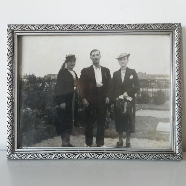 Cadre photo vintage entourage argent