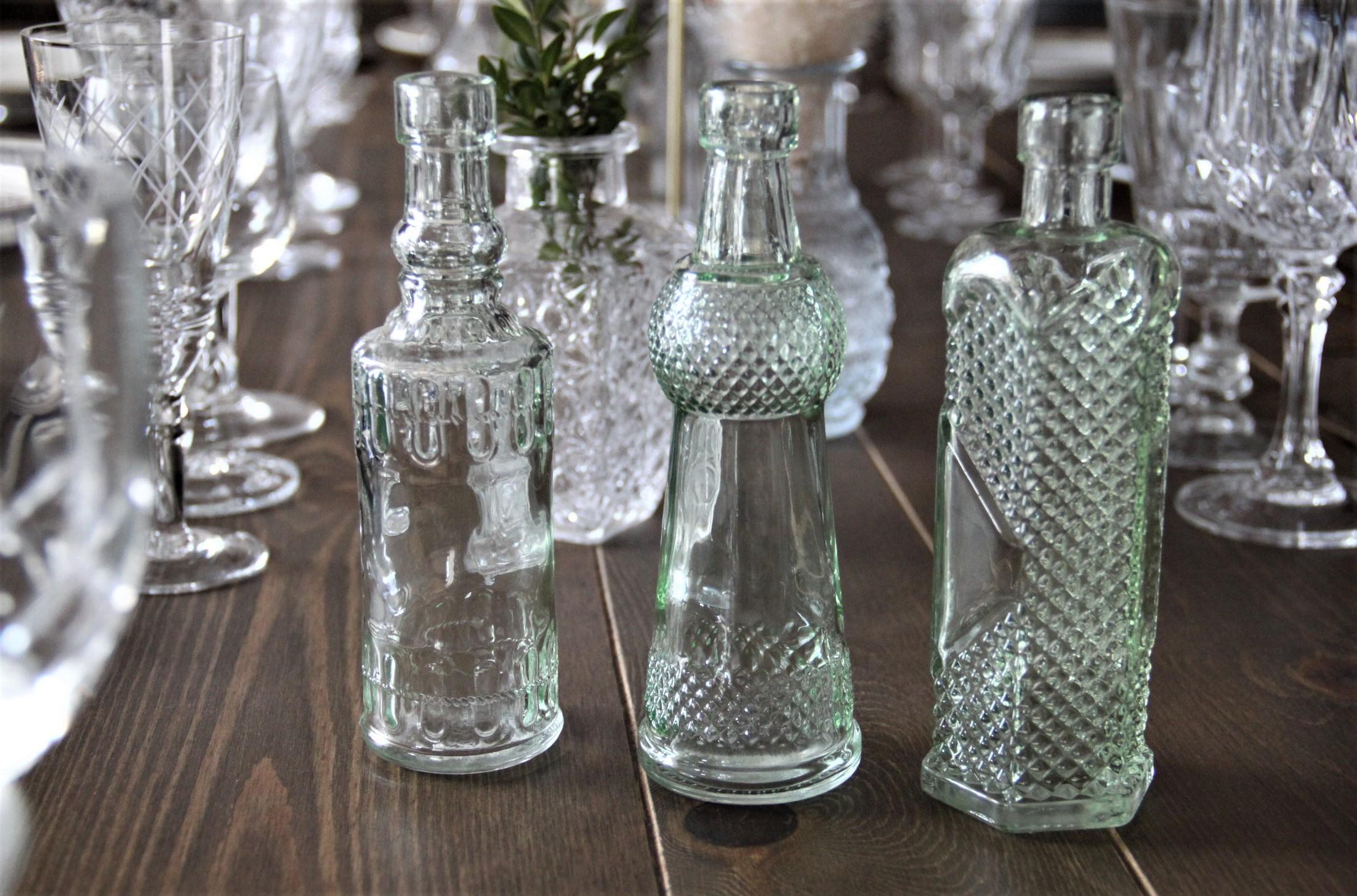 Petits vases déco vintage (lot de 3) teinte vert