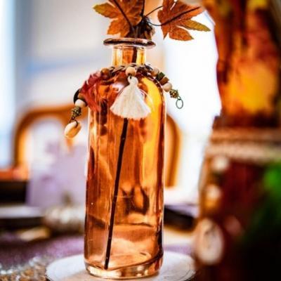 Centre de table petit vase ambre 16x5cm