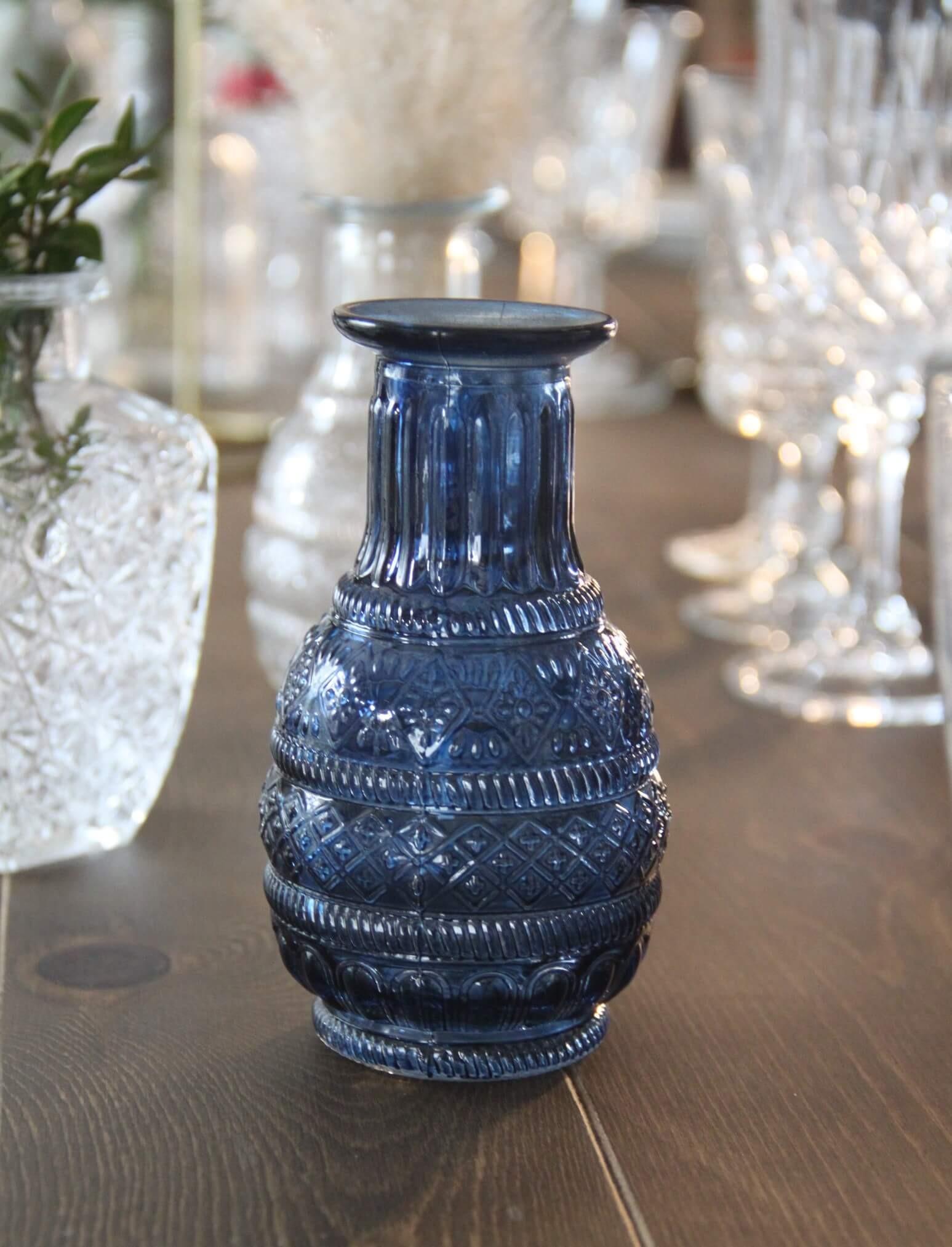 Petit vase bleu motif vintage rétro 7.5x13cm