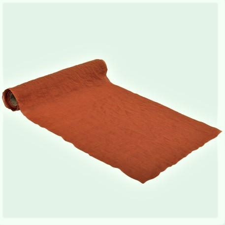 Chemin de table mousseline orange brulé - 5Mx28CM