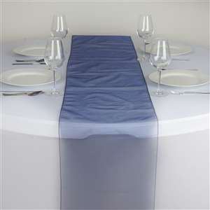 Chemin de table organza bleu marine - Location  2.00€