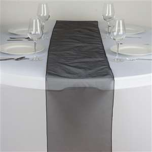 Chemin de table organza noir - NSE Location  2.00€