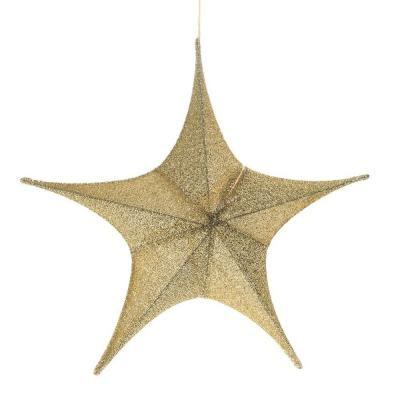 Etoile 3D tissus pailleté or D80cm