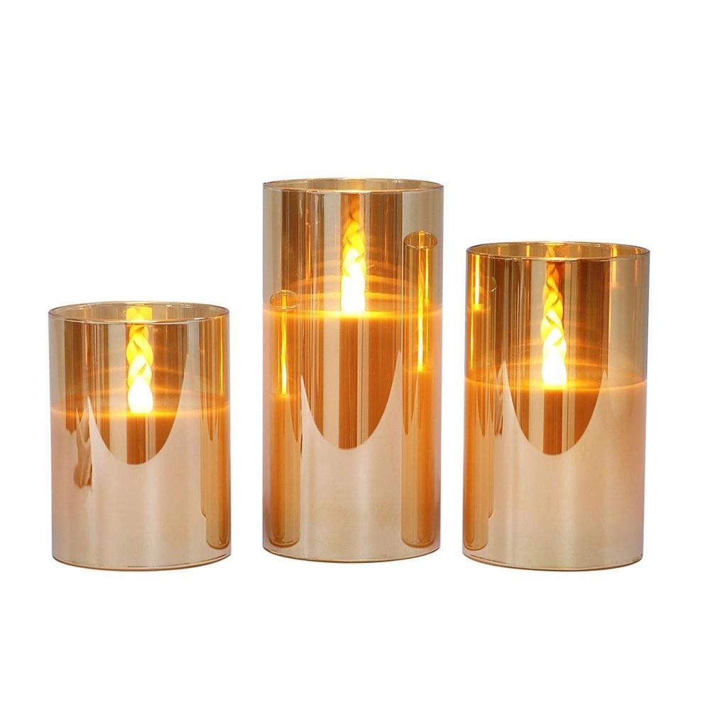 3 bougies led - photophore en verre fumé doré