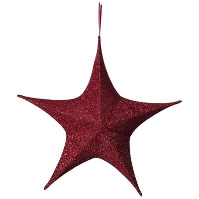Etoile 3D rouge glitter 110cm