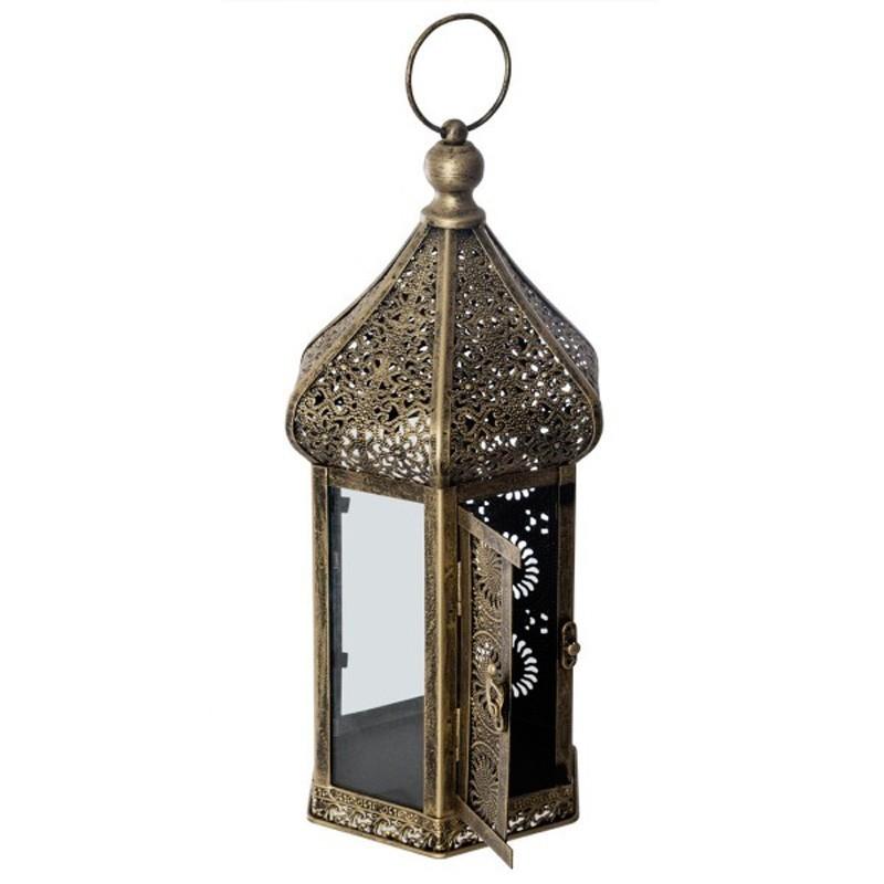 Lanterne orientale hexagonale en métal -  40cm or