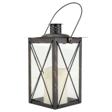 Location Lanterne noire avec bougie led - 3.00€