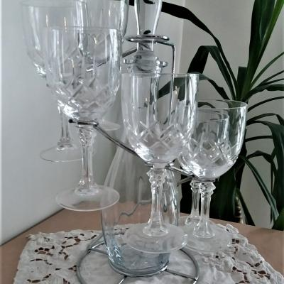 Support avec carafe et 6 verres