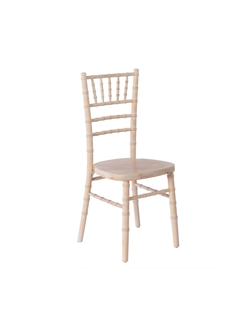 Location chaise bois cérusé blanc - 6.00€
