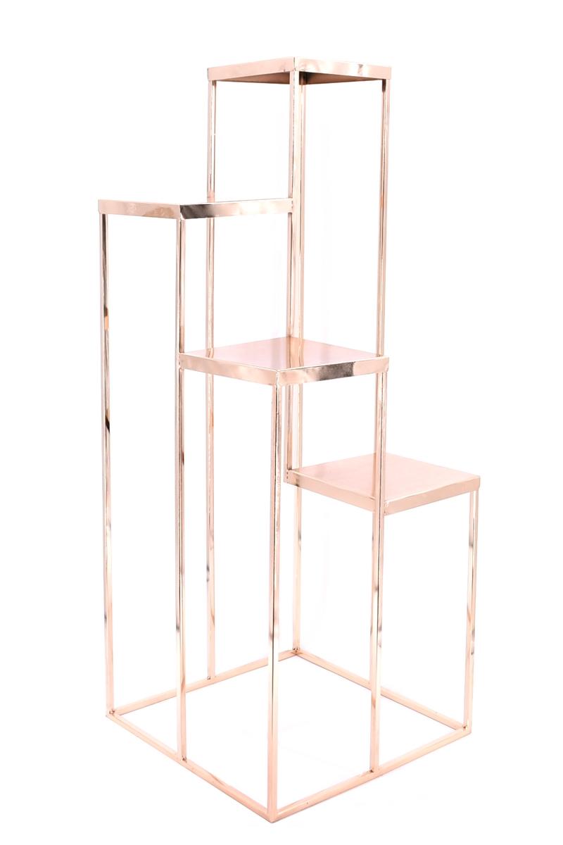 Colonne 4 niveaux - Hauteur 1M - largeur 40 cm - couleur Rose Gold - Métal