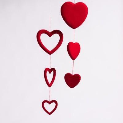 Location guirlande 3 cœurs rouges  - 3.00€ TTC