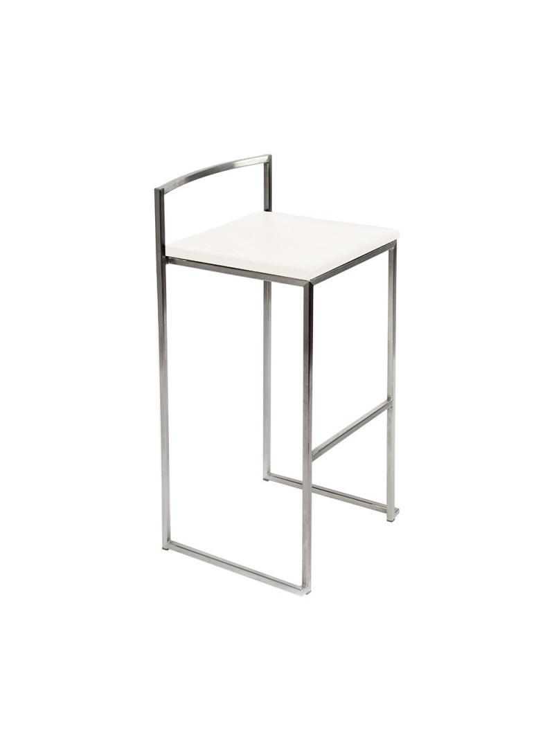 Tabouret haut métal brossé assise blanche