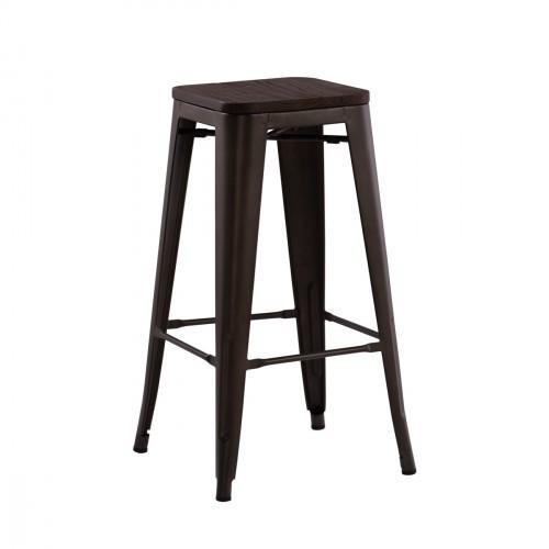 Tabouret style industriel - Piétement métal assise bois