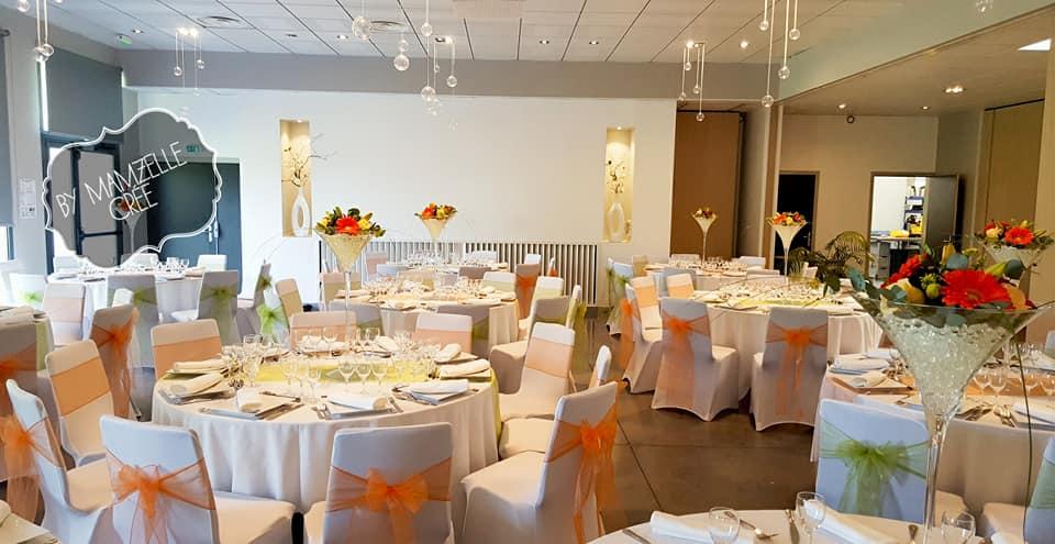 Nœud de chaise organza orange - (visuel en salle)