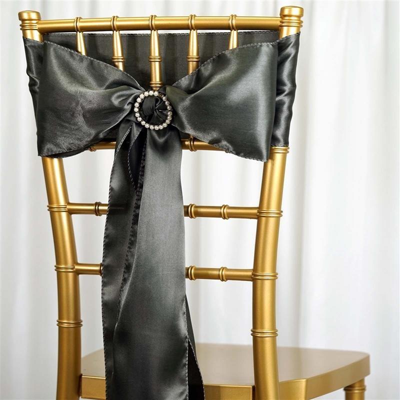 Nœud de chaise satin gris fonce - location 1.00€