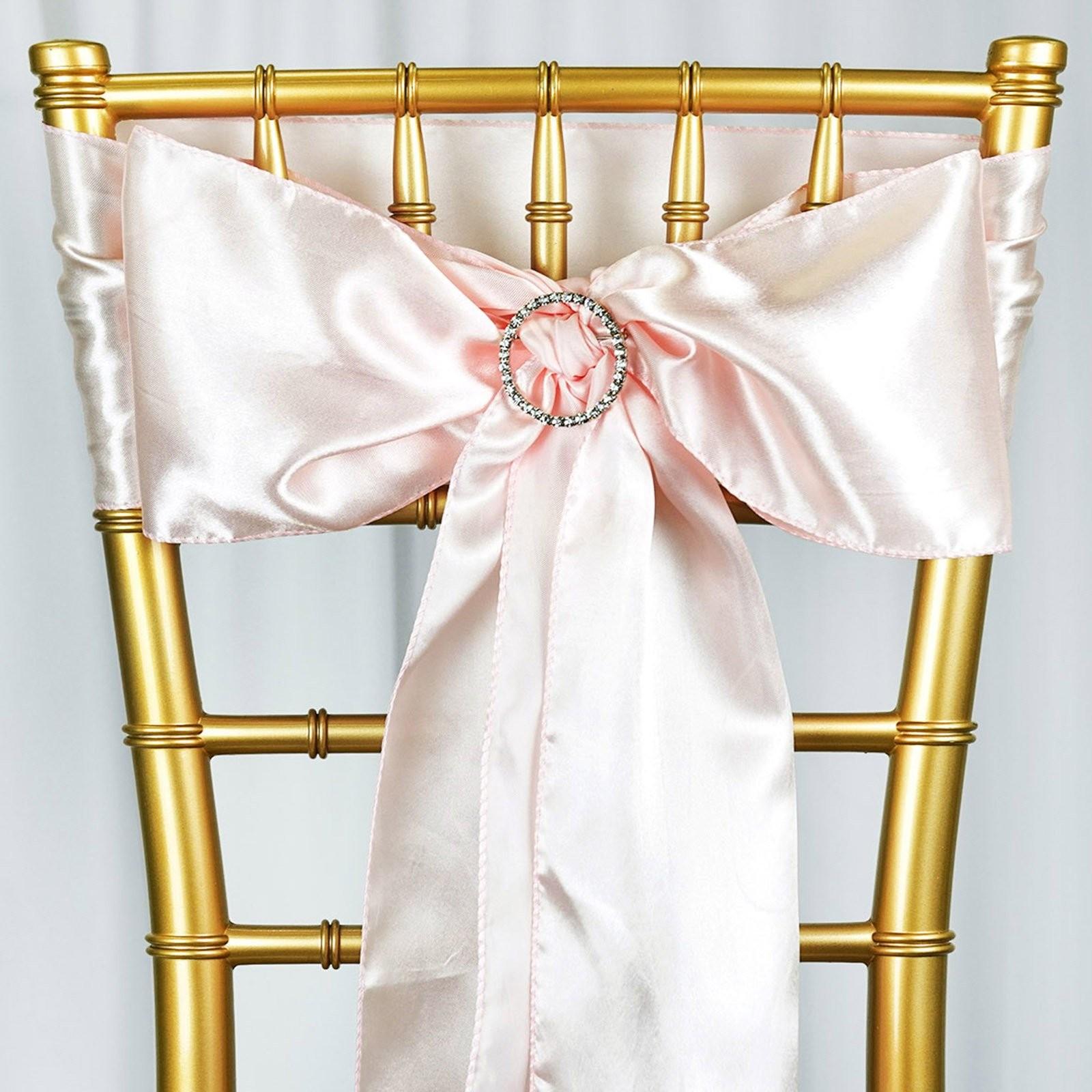 Nœud de chaise satin rose pale - location 1.00€