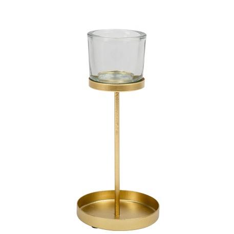 Photophore métal or et verre - Hauteur 21cm
