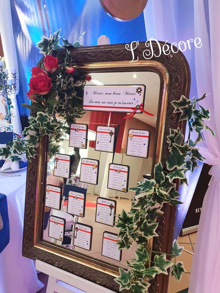Exemple de Plan de table sur miroir par Laura