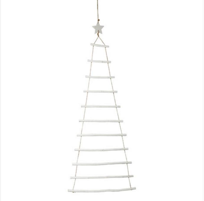 Suspension sapin échelle - Bois blanc  hauteur 90cm