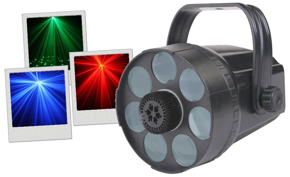 Led Spider - Un effet LED RGB de 3Watts produit des faisceaux - Micro intégré
