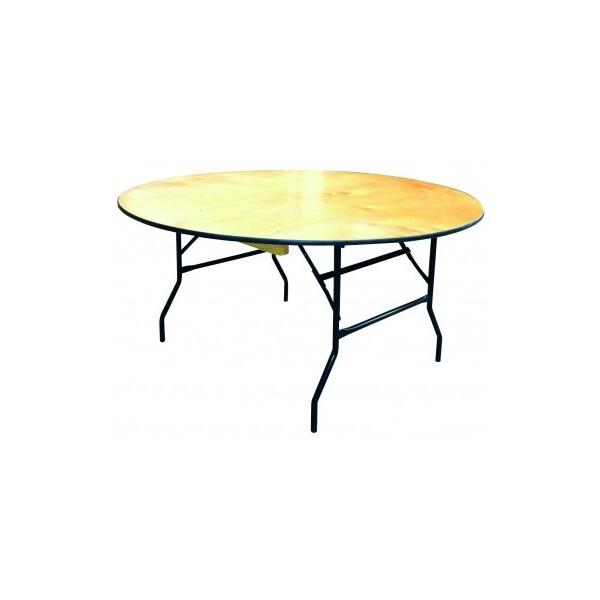 Table ronde pliante bois D150 - Location  12.00€ TTC