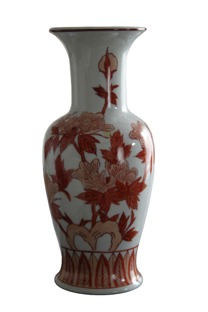 Vase blanc motifs terracotta - H25xD12cm