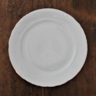 Assiette porcelaine blanche lisere or nse dunkerque