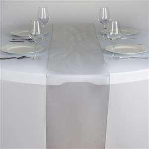Chemin de table organza gris argent nse location