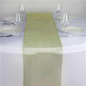 Chemin de table organza vert anis nse location