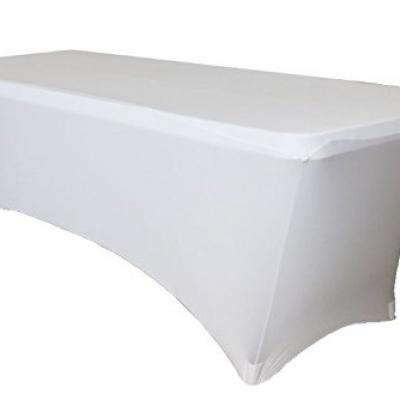 Housse de table rectangulaire lycra blanc