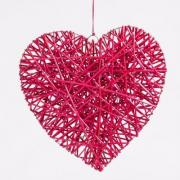 Location coeur rouge en bois a suspendre deco st valentin