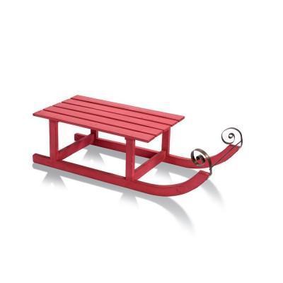 Luge en bois rouge 70x26x18cm deco magasin dunkerque