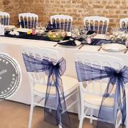 Noeud de chaise organza bleu nuit mariage