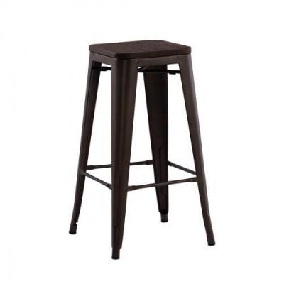 Tabouret haut de bar industriel assise bois h76 cm