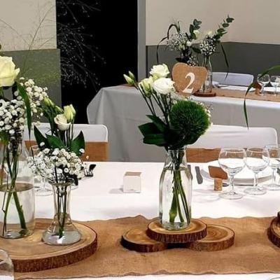 Vase centre de table mariage champetre